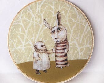 Poor Edward (color cotton applique fabric collage in hoop frame)