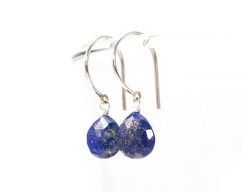 Silver Lapis Earrings, Lapis Drop Earrings, Lapis Dangle Earrings, Sterling Silver Dangle Earrings, Blue Earrings, Lapis Teardrop Earrings