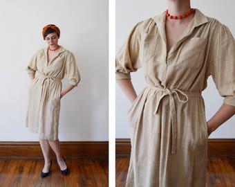 1970s Loose Weave Silk Beige Market Dress - M