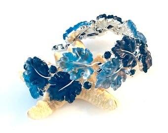 Vintage Lisner Oak Leaf Frosted Blue Rhinestone Bracelet