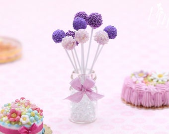 Blueberry Cake Pops Presented in Glass Jar - Miniature Food in 12th Scale for Dollhouse