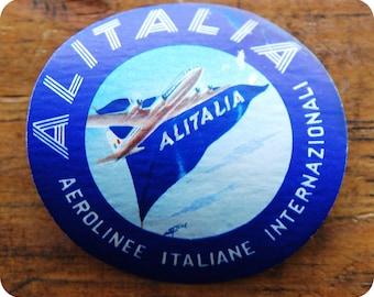 Vintage Alitalia Aerolinee Italiane Internazionali Travel Decal Gummed Sticker