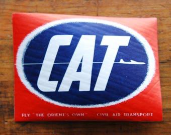 Vintage CAT Civil Air Transport Travel Decal Gummed Sticker