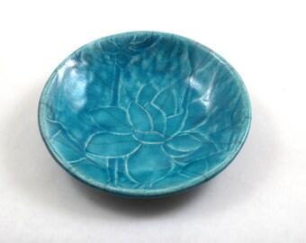 Lotus WATER LILY Bowl Handmade Ceramic Pottery