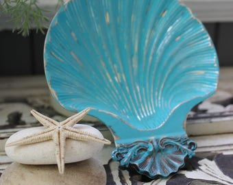 Turquoise Sea Goddess / Mermaid Home Decor, Silver Plated Shell Dish  , Shell Decoration , Ring Holder