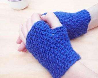 Royal Blue Fingerless gloves