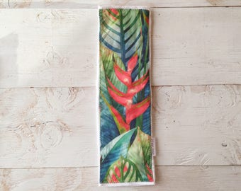 Baby Burp Cloth - Layette Gift - Tropical Print 'Heliconia' - Made in Maui, Hawaii USA
