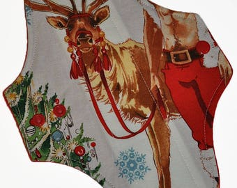 Moderate Core- Reindeer Pinup Reusable Cloth Maxi Pad- 10 Inches (25.5 cm)