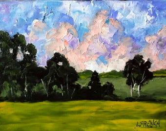 Impressionist California Plein Air Landscape Wild Mustard Summer Meadow Oil Painting Original Art Lynne French 11x14