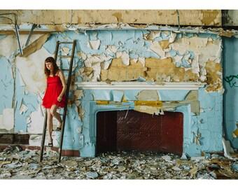 Female Portrait Abandoned Building Photography Detroit Art 5x7 Print Red Dress Self Portrait Detroit Photography