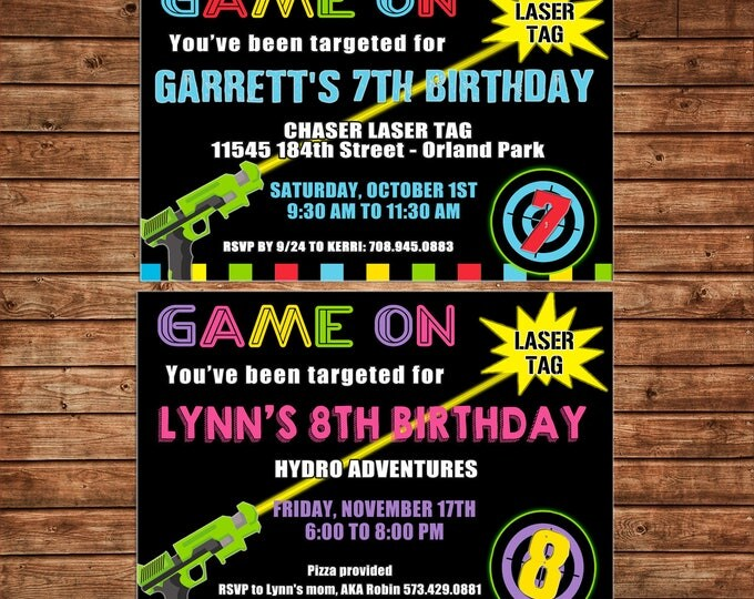 Boy or Girl Tween Teen Laser Tag Arcade Game Neon Gun Target Light Saber Birthday Party  Invitation - DIGITAL FILE
