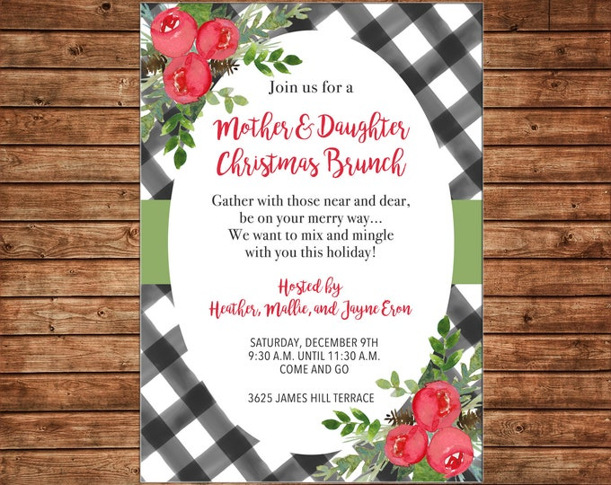 Christmas Invitation Black Watercolor Gingham Red Flowers Brunch  - Can personalize colors /wording - Printable File or Printed Cards
