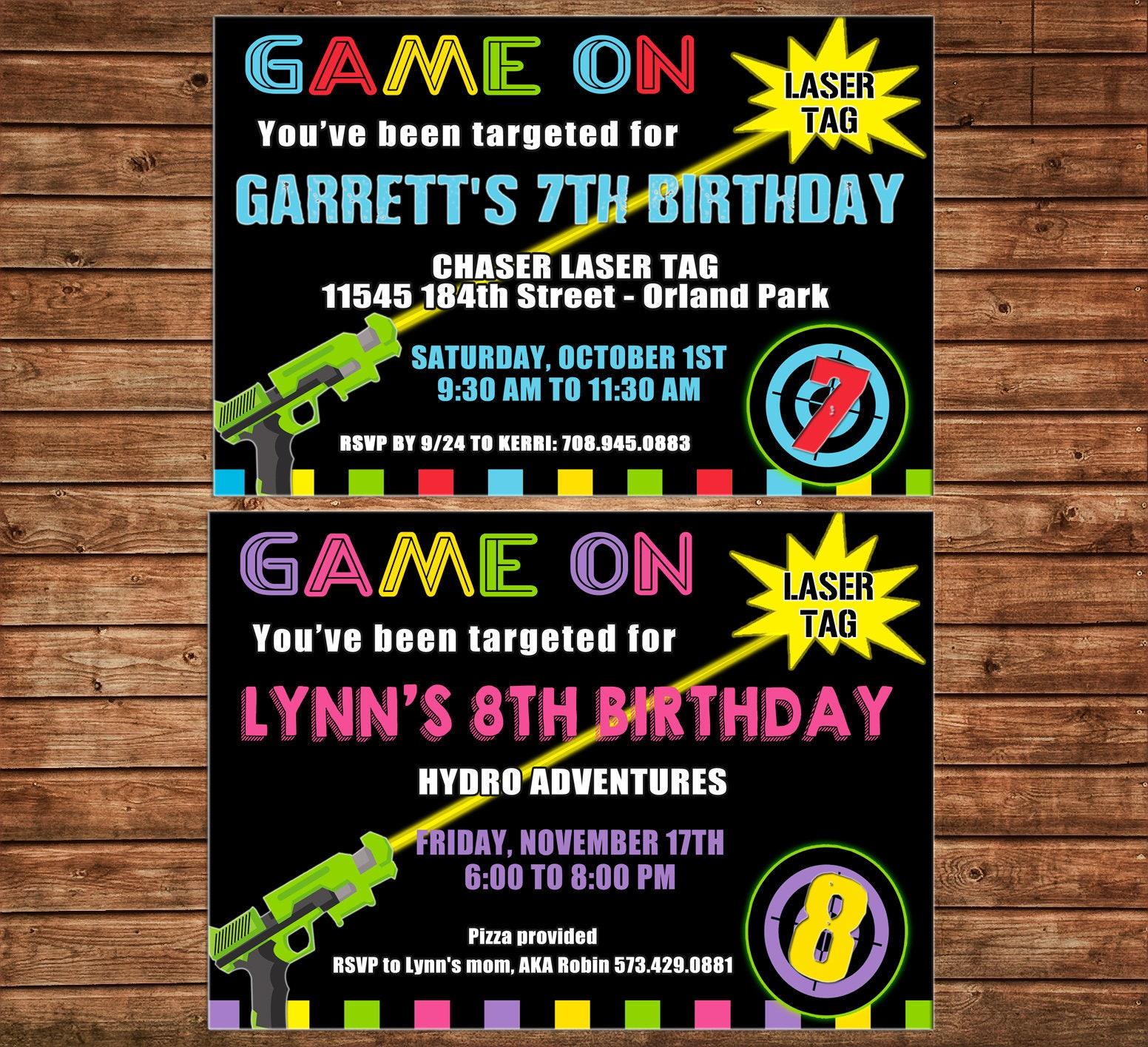 Boy or Girl Tween Teen Laser Tag Arcade Game Neon Gun Target Light – Tween Birthday Party Invitations