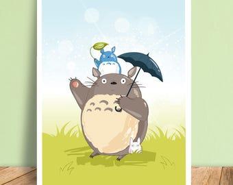 Totoro Studio Ghibli Art Print Illustration A5