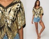Sequin Shirt Butterfly Top GOLD Blouse Metallic 70s Disco Top 80s Bohemian Party Glam Trophy Boho 1980s Silk Extra small Medium large xs