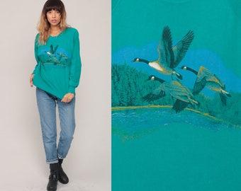 Canada Goose Sweater Animal Sweatshirt 80s Raglan Sleeve Bird Print Jumper Slouchy Sweat Shirt Duck 1980s Sweater Vintage Teal Large