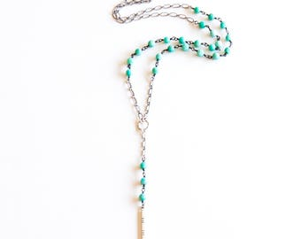 """Y-shape lariat necklace handmade with light blue amazonite beads in a unique chain and chiseled circle and spear elements - """"Amaya Necklace"""""""