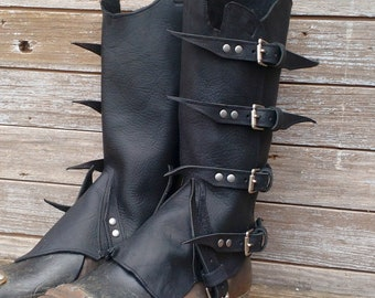 Primitive Oiled Black Leather Peaked Spats with Antiqued Nickel Hardware