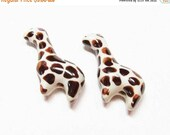 20% OFF LOOSE Porcelain Beads - Brown Spotted Giraffes (2 beads) - Por066