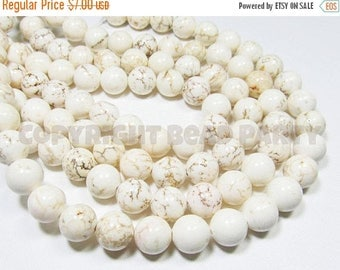 """20% OFF 7.5"""" STRAND - Natural Magnesite Beads - 12mm Rounds - Creamy White with Brown Matrix (7.5"""" strand - 15 beads) - str1183"""