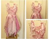 RESERVED Sassafras Handkerchief Dress Womens, Boho Lagenlook Birthday Silk Chiffon, Organza, Fairy Princess Corset Pink