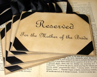 1 Wedding Seating Signs/ Ribbon Colour Choices Available/ Reserved Sign for Seating/ Personalized Seating Signage