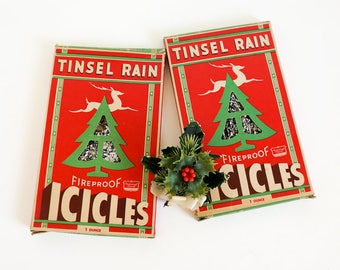 Vintage 1940s Christmas Decoration National Tinsel Rain Fireproof Icicles, Silver Foil Tree Trimming