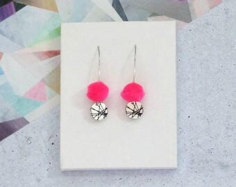 Neon Pink Drop Pom Pom Earrings with Black Geometric Lines disc