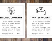 Monopoly Utilities Property Card, 8x10 Art Print // Water or Electric Posters // Game room wall art // Family board game print