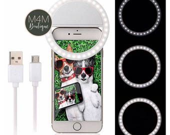 Selfie Light Clip in 4 colors for all Smartphones! 3 light settings for the PERFECT SELFIE! LED Phone Ring
