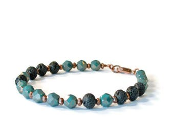 Lava Rock Bracelet, Czech Glass and Antique Copper, Essential Oil Diffuser Jewelry