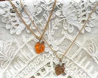 fall leaf necklace assemblage upcycled vintage jewelry choice thermoset simple pendant