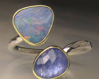 Boulder Opal and Tanzanite Ring, 18k Gold and Sterling Silver, Open Ring, size 7-7 1/2