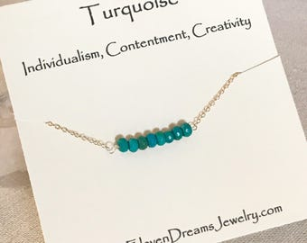 """Turquoise gemstone bar necklace. 16"""" / 18"""". 14k goldfill or sterling silver. Individualism. Creativity. Contentment."""