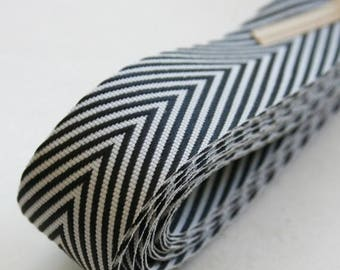 25% Off Summer Sale Chevron Twill Herringbone Ribbon - Black and White 3/4 Inch Width - Packaging and Gift Ribbon