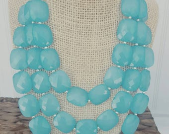 FREE EARRINGS Ocean Blue Turquoise  Triple Strand Chunky Statement Bib Necklace...Purchase 3 or more get 10% off