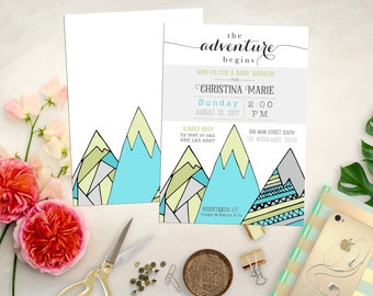Mountain Baby Shower Invitation. Printable Adventure Baby Shower. Mountain Bridal Shower. The Adventure Begins Shower Invite. Rustic Shower.