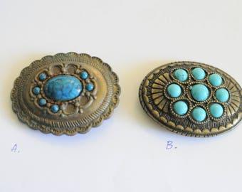 Distressed Vintage Belt Buckle Blue Bronze Rusted Ornate