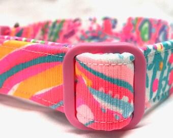 Lilly Pulitzer Fabric Dog Collar Multi Swish Fish Pink