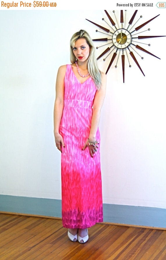SALE 50% OFF Vintage 70s LESLIE Fay Maxi Dress Bright Pink Ombre Empire Waist A-Line Cut Sleeveless Long Floor Length Sexy Mad Men Era 1970s