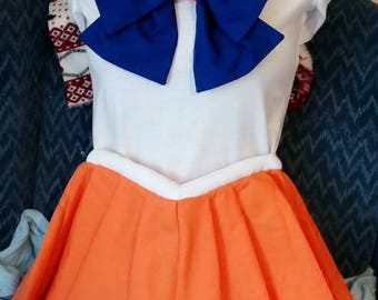 PLUS Size ADULT Sailor Scout Costume INCLUDES Pleated Skirt, Collar, Brooch and Front/Back Bow Cosplay