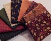 NEW A Moose for Christmas Quilt Craft Fabric Bundle of 9 Fat Quarters - Bundle 2
