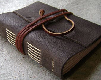 """Handmade rustic leather journal, 4"""" x 6"""", travel journal, leather sketchbook (2618)"""