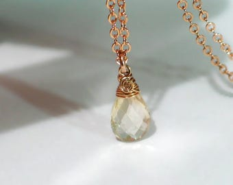 Oregon Sunstone Pendant Necklace | Light Champagne Pear Briolette | 14k Rose Gold Filled | Small Pendant | Birthday Gift | Ready to Ship