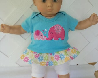 Doll Clothes,  Bitty Baby Girl   4 pc cute Turq. and White Pants dress  outfit  with headband and Leggings