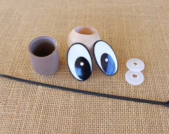 Hardware Kit for Stick Horse or Other Ride-On Animal DIY 42mm Oval Comical Safety Eyes and Dowel Caps