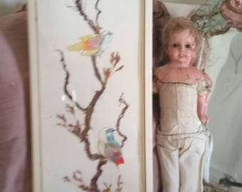 vintage bird picture, 70s home, kitsch little birds, painted feathers, long thin bird picture