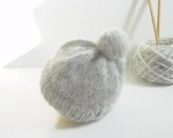 Newborn Hat/Hand Knit Newborn Hat/Gray Baby Hat/Newborn Beanie/Baby Shower Gift/Knit Newborn Beanie