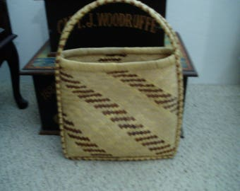 Vintage Unique Basket Weave Tote/Purse