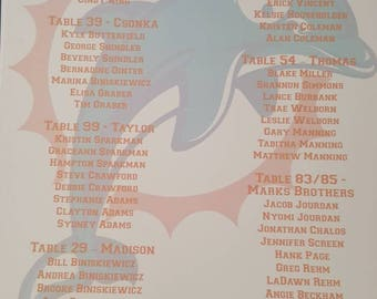 Miami dolphins seating chart, sports teams, players, jets, football, knicks, wedding table numbers , seating cards, sweet 16, bar mitzvah,